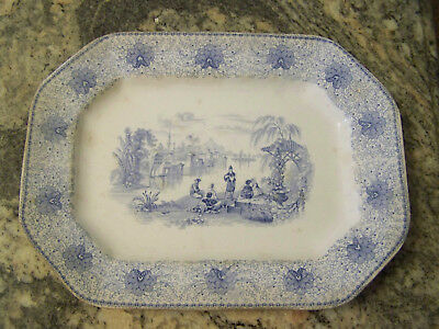 19c ANTIQUE BLUE AND WHITE CHINA TRANSFERWARE OVAL RECTANGULAR SERVING PLATTER