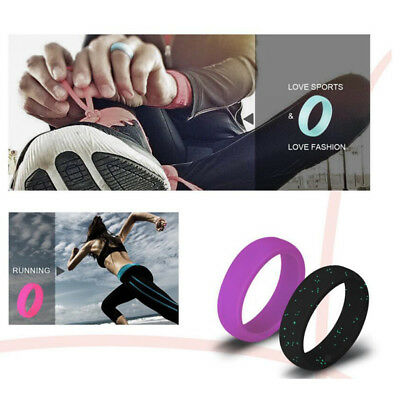 7Pcs Rubber Silicone Wedding Ring Band Sport Outdoor Flexible for Men Women