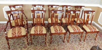 Set 10 Imported Inlaid Mahogany & Gold Italian Regency Style Dining Chairs 1990s