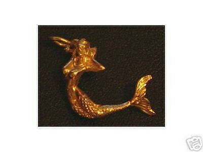 LOOK 1968 Celtic Nude Mermaid silver charm Gold Plated