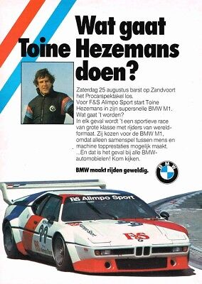 1979 BMW M1 Toine Hezemans Zandvoort (Dutch, 1pg.) Advertisement (AAA.948)