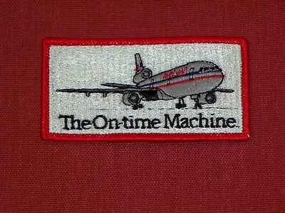 American Airlines ' The On Time Machine ' Employee Only Patch New 1988 Ad DC 10