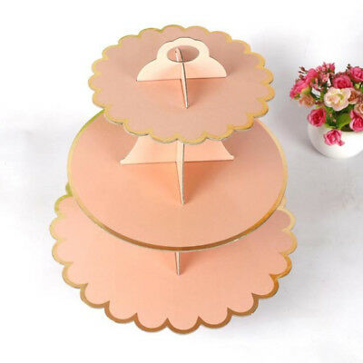 3 Tier Cardboard Cupcake Cake Muffin Stand Pastry Dessert Food Serving Plate