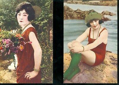 LOT of 2 Antique JAPANESE PRETTY GIRL Color Risque Postcards Excellent Condition