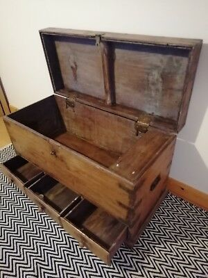 Large Antique Georgian Solid Oak Mule Chest Coffer trunk With Drawers rare