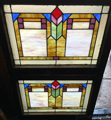 "Pair of Antique Stained Leaded Glass Transom Windows 28"" by 21"" Circa 1920"