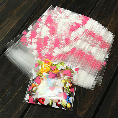 100Pcs Sweet Heart Pic Self Adhesive DIY Cookie Candy Package Souvenir Gift TB