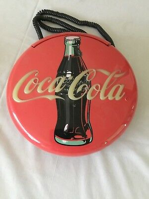 Coca Cola Round Plastic Wall Hanging Corded Advertising Telephone Vintage 1996