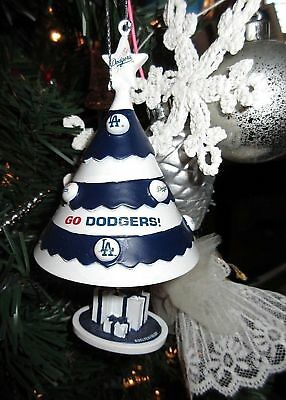 "MLB LA DODGERS Team Decorated Tree with Presents Bell Ornament 5"" NEW"