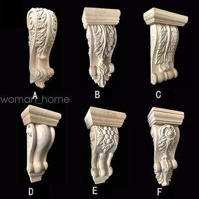 Unpainted Wood Hand-Carved Cabinets Door Roman Column  Applique Home Decor /F