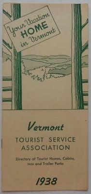 Vintage 1938 Brochure Vermont Tourist Service Directory Of Homes Cabins Inns