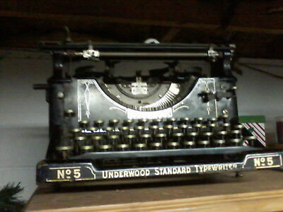 ANTIQUE 1917 UNDERWOOD STANDARD No.5 TYPEWRITER FOR PARTS OR TO SERVICE
