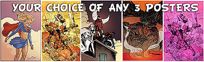 """YOUR CHOICE OF 3 11"""" X 17"""" Signed POSTERS Prints by LEE OAKS! comic art Deadpool"""