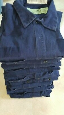 Men's used Uniform Work Shirts Long Sleeves 100% Cotton Navy Blue Buttons Not FR