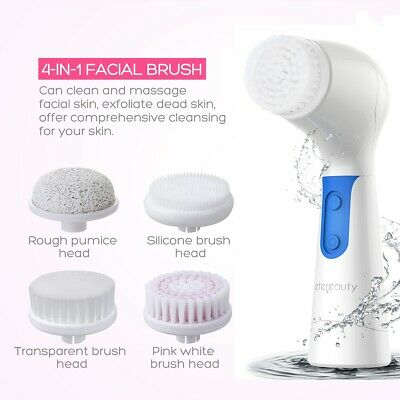 5 in 1 Electric Facial Cleansing Brush Scrubber Face Body Exfoliating Waterproof