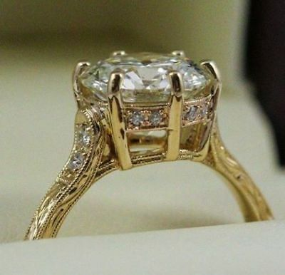 2CT Round Cut Diamond Solitaire Lovely Engagement Ring 14K Real Yellow Gold