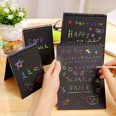 Colorful Rainbow Paper Scratch Art Graffiti Drawing Doodle Pad Book Kids Toy AU