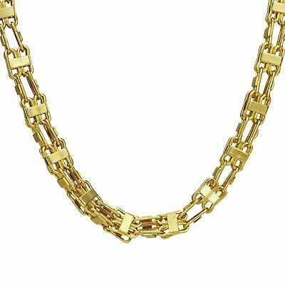Italian handmade Large 9ct Gold Cage Chain Big Necklace bling men new 9k