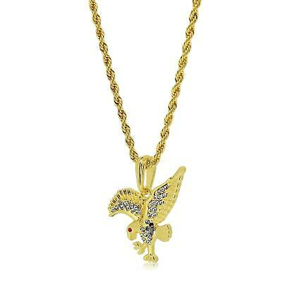 9ct Gold Plated Eagle Bird Animal Pendant Rope Chain Necklace hip hop bling chea