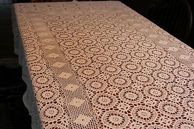 Vintage Cotton White Hand Crocheted Tablecloth 60x100 Gorgeous!