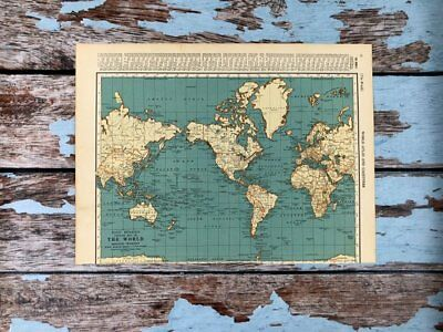 Antique World Map 1937 Vintage Map of the World & Polar Regions Historical Print