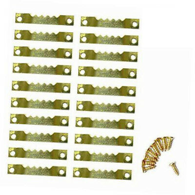 Gold 100Pcs + 200 Screws Sawtooth Picture Frames Hanging Hangers Double Hole