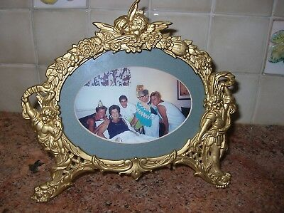 Antique NB&IW Cast Metal Oval Cherub Frame Bronze National Bronze & Iron Works