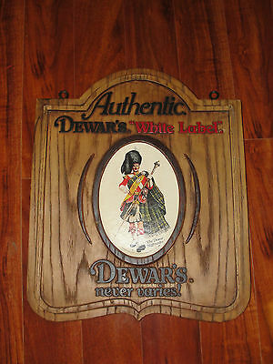 Authentic Dewar's White Label faux wood plastic advertising sign, double sided
