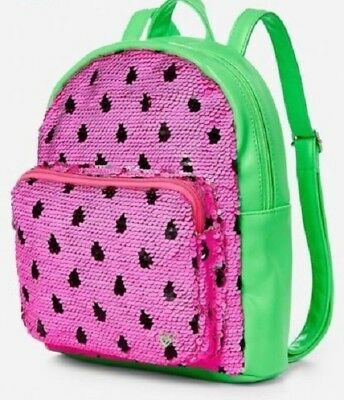 Justice Girls Mini Backpack Watermelon Reversible Flip Sequins Pink Green New