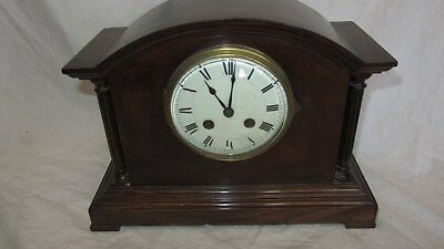 Antique Striking Mantel Clock With enamel Face and Key 'Please Read'
