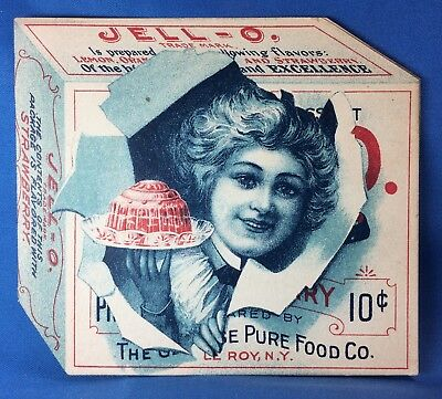 c. 1900 Jell-O Fold Out Victorian Advertising Trade Card Antique