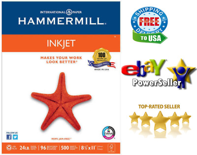 Hammermill InkJet Paper 8 1/2x11 Letter White 24 lbs 96 Bright 500 Sheets 1 Ream