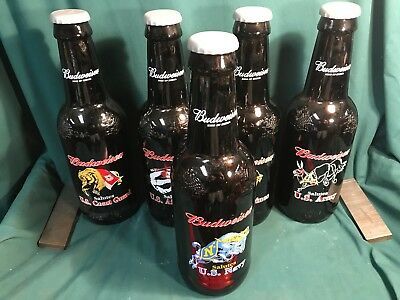 "Set of 5 Budweiser 14"" Glass Bottles, Army Marines, Navy Coast Guard Air Force"