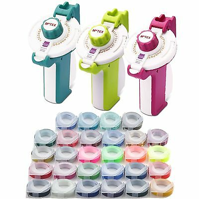 MOTEX Embossing Label Maker E-202 + 3 Tapes - Various Colours - Free Shipping