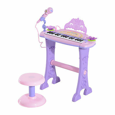 Girls Childrens Pink Electronic Keyboard Piano With Stool Microphone MP3 88024A
