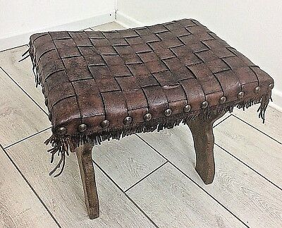 Old vintage mid century Studded & Leather Weave topped Oak footstool seat
