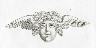 Antique Print-EMBLEM-HUMAN FACE-WINGS-ANGEL-Lavater-1835