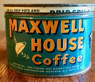 Vintage Maxwell House 1 Pound Coffee Can Tin w/ Lid