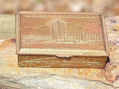 Rare Antique 1933 Chicago Worlds Fair Brass Metal Trinket Jewelry Box N Shure Co