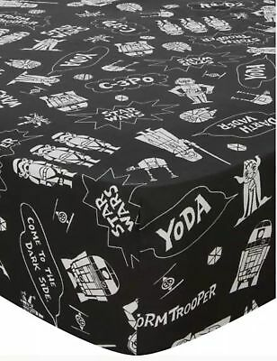 Disney Star Wars Double Fitted Bed Sheet Black & White Cartoon' Style Design NEW