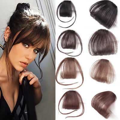 Thin Neat Air Bang 100%Real Human Hair Clip in Fringe Front Hairpiece Extensions