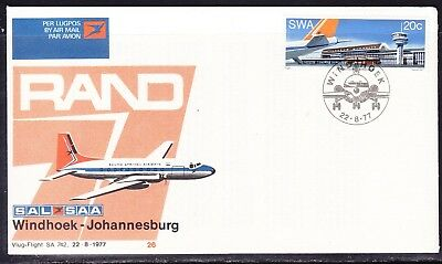 South Africa 1977 SAA SA742 Windhoek to Johannesburg  Flight Cover