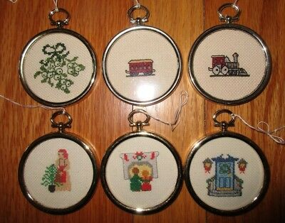 """Lot of 6 Completed Handmade Cross Stitch Ornaments w/Frames Approx. 2.25"""""""