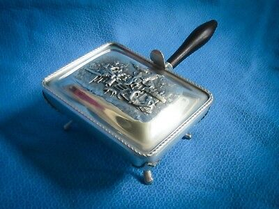 Vtg Dutch Scene Silver Plate Flip Top Butter Dish Plate Server Wood Handle