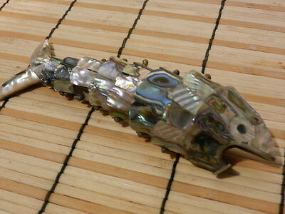 """BOTTLE OPENER:Vintage Abalone Shell Articulated Fish 6""""1950/1960 Mother Of Pearl"""