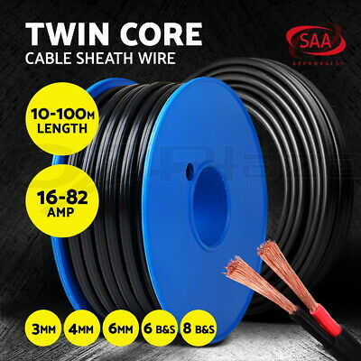 Twin Core Wire Cable 10/30/100 BS 3/4/6MM SAA 2 Sheath Electrical Automotive 12V