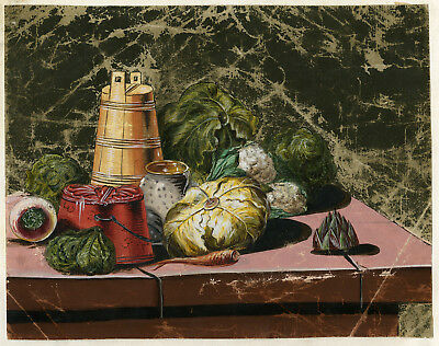 Art Drawings 1840 Lower Price with Antique Drawing-still Life-vegetables-artichoke-cauliflower-anonymous-c