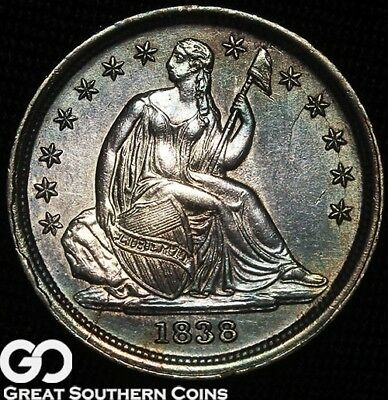 1838 Seated Liberty Dime, Lg. Stars, Beautiful Choice BU++, Scarce This Nice!