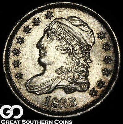 1833 Capped Bust Half Dime, Obverse Die Break, Sharp Gem BU++ Silver Early Type!