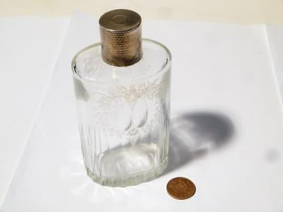 1924 Silver Dressing Table Vanity Scent Perfume Bottle Cut Glass Foliage Flowers